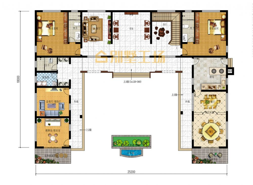 新中式乡村二层自建小楼一层平面图
