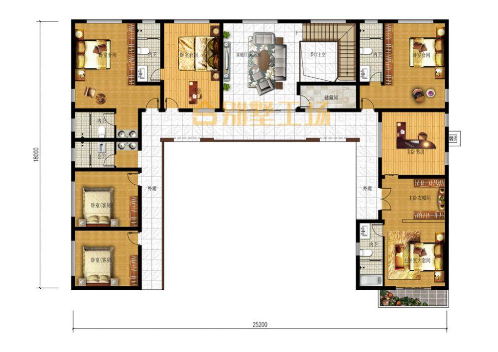 占地300多平新中式乡村二层自建小楼二层平面图