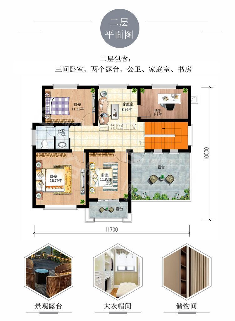 100平二层农村小楼二层平面图