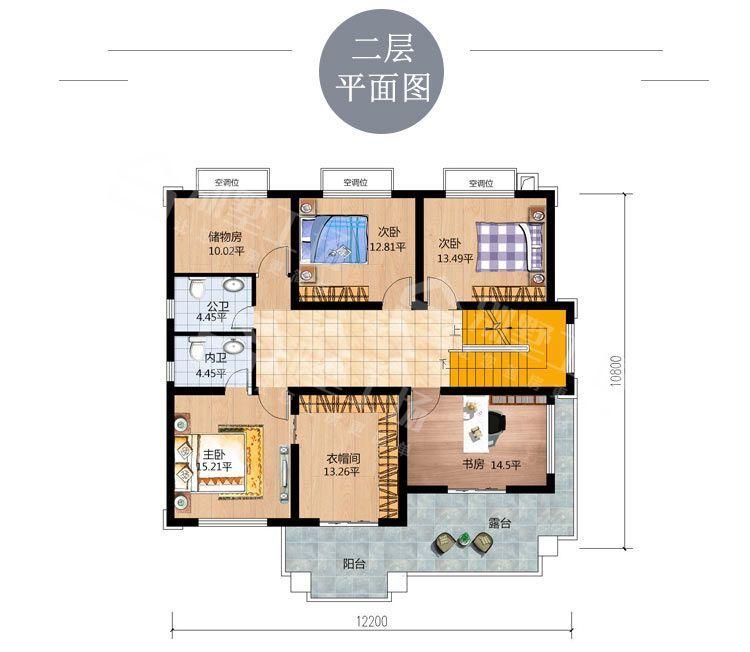 2019新款现代新中式风格乡村别墅二层平面图