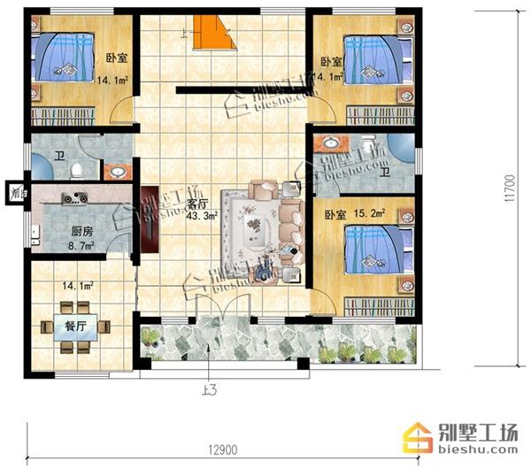 乡下建房一层户型图13米x12米