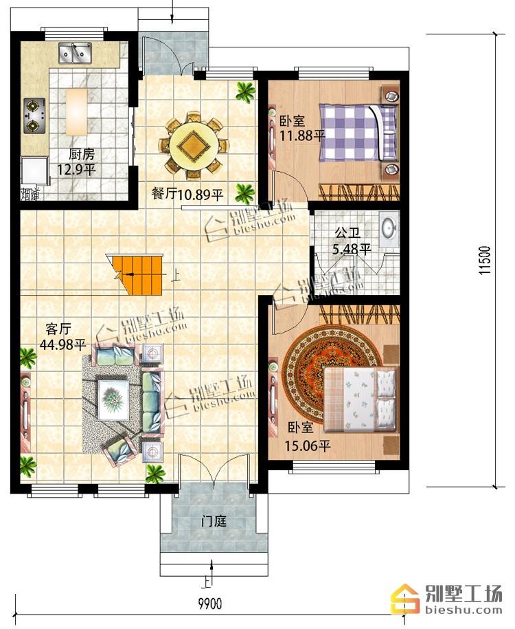 新农村二层新中式小户型洋房-一层