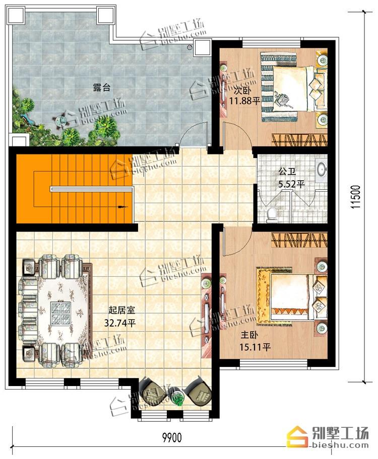 新农村二层新中式小户型洋房-二层