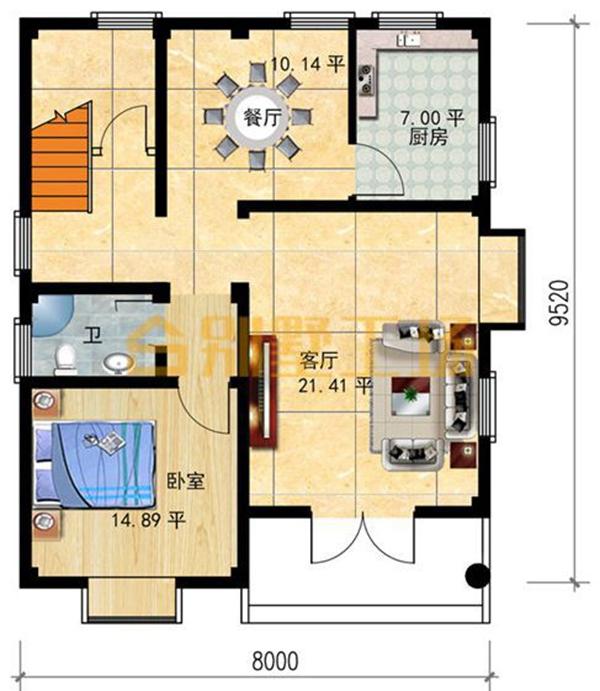 8米x10米的小宅基地二层别墅-一层