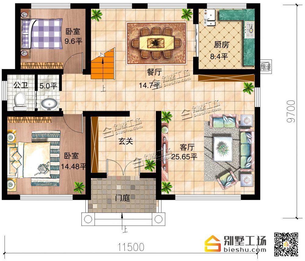 欧式经典二层自建别墅-一层