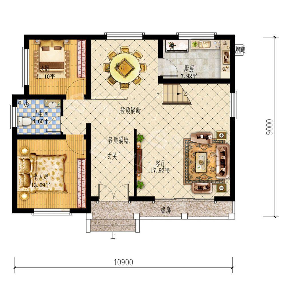 美式楼阁式二层小户型别墅-一层