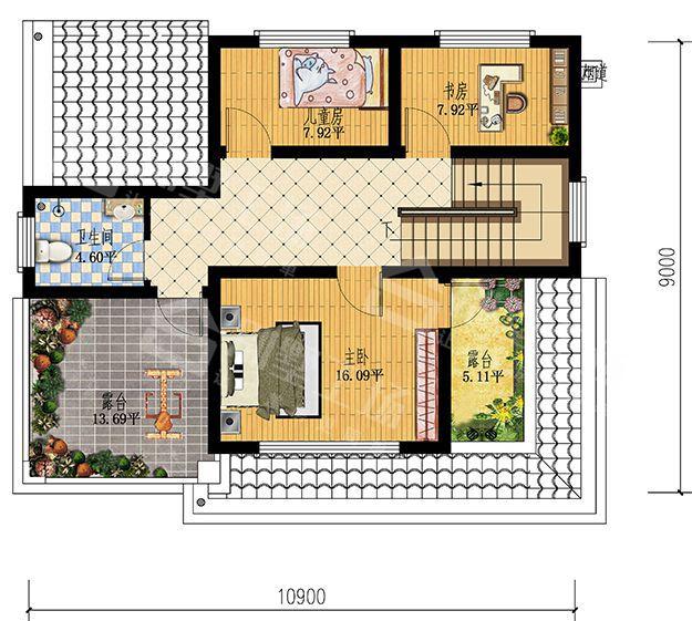 美式楼阁式二层小户型别墅-二层