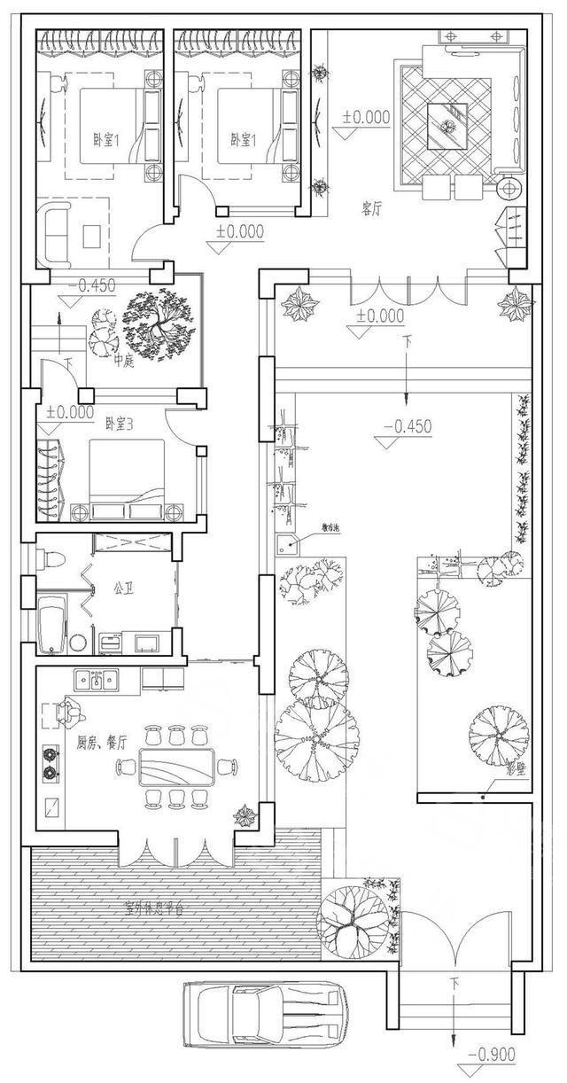 新中式农村别墅设计平面图