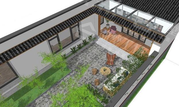 新中式农村别墅设计庭院图