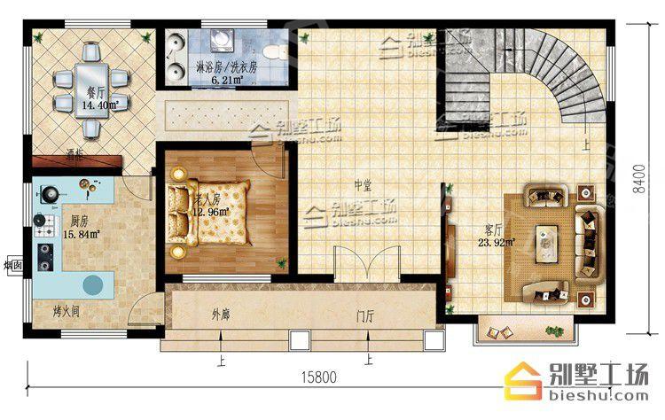 农村二层半别墅20万元一层