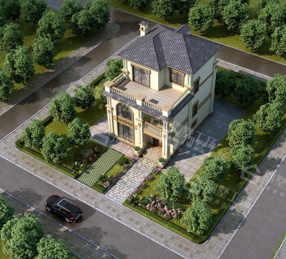 农村二间三层简易别墅庭院图
