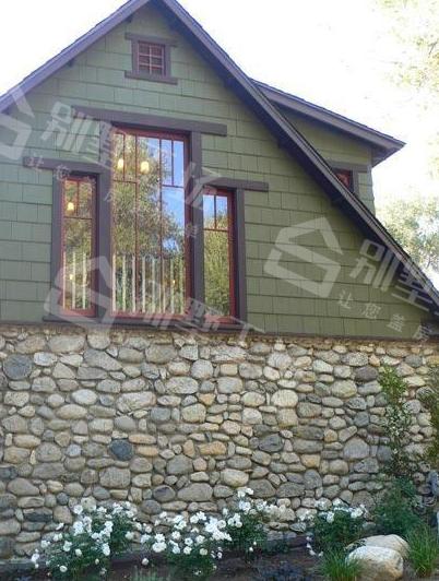 农村别墅外墙下方贴石头5