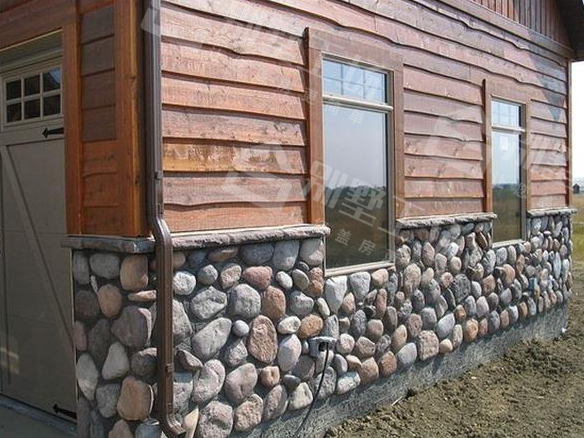 农村别墅外墙下方贴石头2